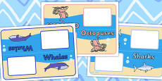 Editable Class Group Table Signs (Large Sea Life)