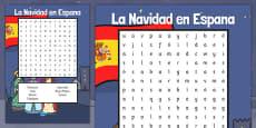 La Navidad en Espana Word Search