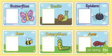Editable Class Group Signs (Minibeasts)