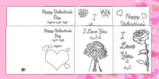 Valentine's Day Card Colouring Templates Arabic Translation