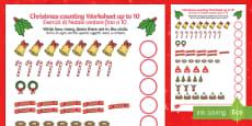 Counting at Christmas Activity Sheet up to 10 English/Italian