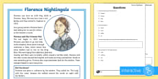 KS2 Florence Nightingale Differentiated Comprehension Go Respond  Activity Sheets