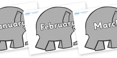 Months of the Year on Grey Elephant to Support Teaching on Elmer