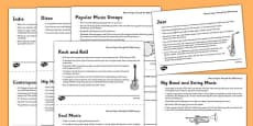 The History of Music: Musical Styles Through the 20th Century Information Sheet Pack