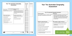 * NEW * Year Two Geography  Connection to Places Assessment Tracker