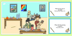 Art Lesson Scene and Question Cards Arabic Translation