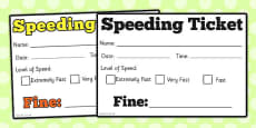 Car Speeding Ticket Role Play