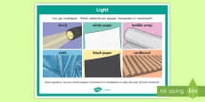 Science Light and Materials Investigation Prompt Display Poster