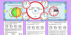 Telling the Time - Quarter Past, Half Past, Quarter to Task Setter PowerPoint and Activity Sheets Arabic Translation