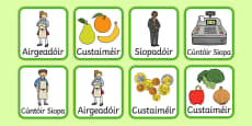 An t-Ollmhargadh The Supermarket Irish Gaeilge Role Play Badges Gaeilge