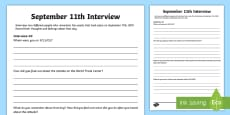 * NEW * September 11th Interview Activity Sheet