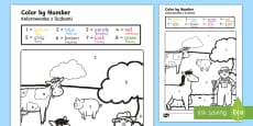 Farm Colour by Numbers English/Polish