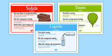 Solids, Liquids and Gases Posters Romanian Translation