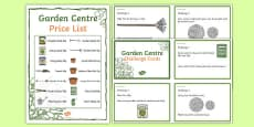 Garden Centre Maths Challenge Cards KS1