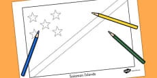 Solomon Islands Flag Colouring Sheet