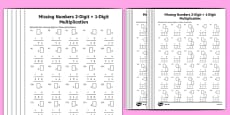 Multiplication 2-Digit x 1-Digit Missing Numbers Differentiated Activity Sheet Pack