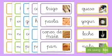Tarjetas de vocabulario: Los grupos alimenticios