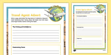 Lindisfarne Travel Agent Writing Activity Sheet