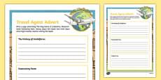 Lindisfarne Travel Agent Writing Activity Sheet