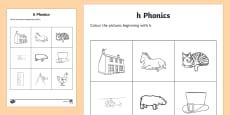 h Phonics Colouring Activity Sheet