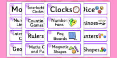 Purple Themed Editable Maths Area Resource Labels