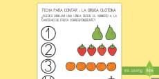 Ficha para contar para ayudar la enseñanza de: La oruga glotona