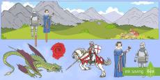 * NEW * Fondo de juego simbólico: San Jorge y el dragón