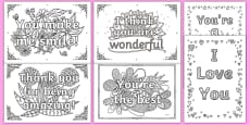 Adult Colouring Mindfulness Words of Encouragement Sheets