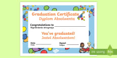 * NEW * School Graduation Certificate English/Polish