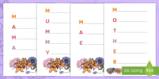 * NEW * Mother's Day Acrostic Poem Template (Flowers) English/Portuguese
