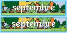 * NEW * Banderole d'affichage : Septembre - Les mois de l'année