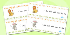 The Lion And The Mouse Alphabet Strips