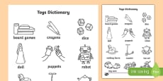 Toys Dictionary Colouring Sheet
