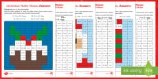 Christmas Multiplication Mosaic Activity Sheets Romanian/English