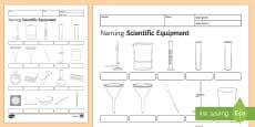 Naming Scientific Equipment Homework Activity Sheet