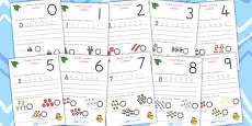 Australia Christmas Number Formation Activity Sheets 0-9