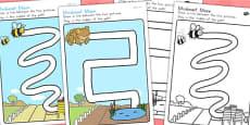 Australia - Minibeasts Cute Pencil Control Path Worksheets