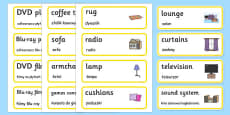 Lounge Word Cards Polish Translation