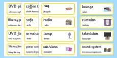 Lounge Word Cards Polish Translation