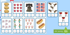 Independence Day Number Recognition Clip Card Activity