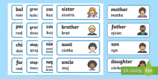 * NEW * My Family Word Cards English/Polish
