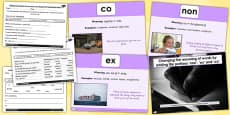 Adding Prefixes non ex and co SPaG Lesson Teaching Pack