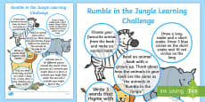 EYFS Home Learning Challenge Sheet Reception FS2 to Support Teaching on Rumble in the Jungle