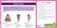 KS2 Hindu Gods Differentiated Reading Comprehension Activity