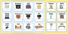 EAL Everyday Objects at Home Editable Cards with English