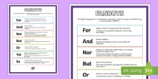 Co-ordinating Conjunctions FANBOYS Display Poster