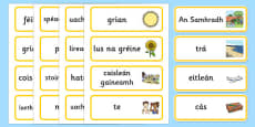 Summer Topic Word Cards Gaeilge