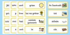 Summer Topic Word Cards Gaeilge