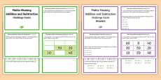 Year 2 Maths Mastery Add and Subtract Numbers Challenge Cards