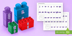 Phase 3 Phonics Word Building Connecting Bricks Game